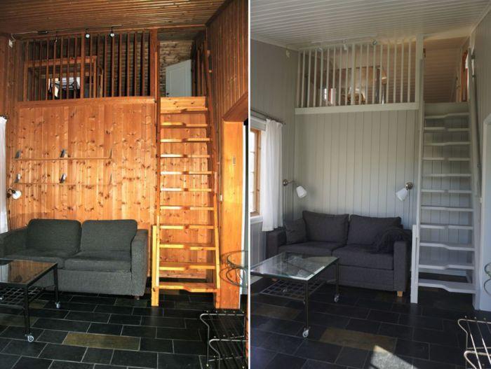 #Stue og #hems med nymalte vegger, trapp, tak og rekkverk.