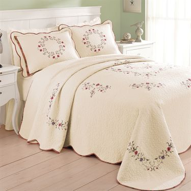 Angela Embroidered Floral Quilted Bedspread