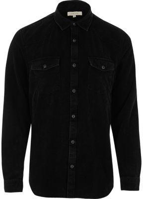 River Island Mens Black corduroy western style shirt