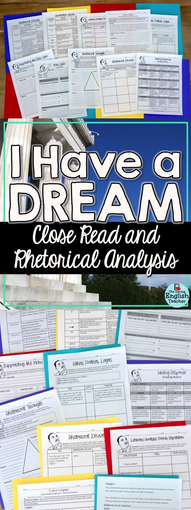 "Celebrate Martin Luther King Jr. and all of his accomplishments with  rhetorical analysis and close reading activities. Ideal for high school English language arts and AP Language classes, this resource includes many different activities to analyze his ""I Have a Dream"" speech."