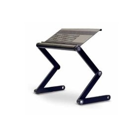 This laptop table by Furinno with adjustable folding legs could be used as an ad-hoc scanning stand by elevating your iPad above the document you're scanning. The height can be changed by adjusting the legs.  Since the legs are only on one side, you could slide large books under the platform and scan them.