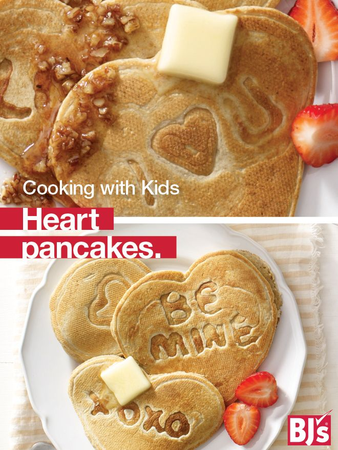 Heart Pancakes - Whole grain oats and fun messages make this heart-healthy breakfast recipe a winner. Perfect for cooking with kids. http://stocked.bjs.com/food/cooking-kids-healthy-message-heart-pancakes