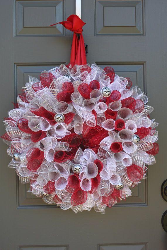 Jingle Bell Curly Geo Mesh Christmas Wreath by Sweet Monkey Princess on Etsy.