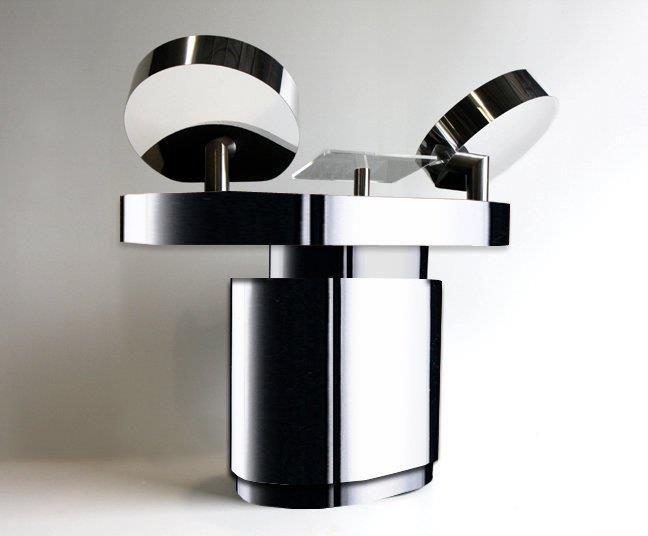 oblong dj table in chrome by spacetek usa dj booths. Black Bedroom Furniture Sets. Home Design Ideas