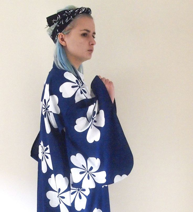 Vintage Japanese Kimono Robe Jacket Dress Floral Pattern Yukata Indigo Genuine in Women's Vintage Clothing | eBay