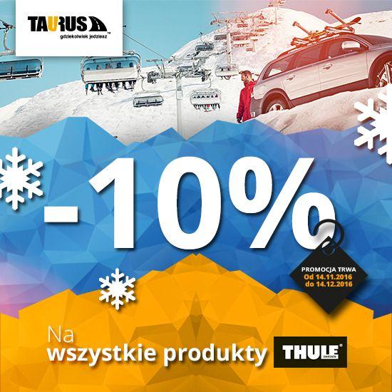 ROZDAJEMY RABATY NA WSZYSTKIE PRODUKTY THULE! Chcemy uczcić otwarcie kolejnych dwóch salonów firmowych - w Szczecinie i Poznaniu :) W związku z tym w dniach od 14.11.2016 do 14.12.2016 na wszystkie produkty Thule udzielamy rabatu 10%! Przyjdź do naszych salonów lub skorzystaj z okazji w sklepie internetowym www.taurus.info.pl/sklep/ W koszyku wprowadź kod rabatowy: Thule2016 Adresy salonów firmowych znajdziesz na stronie: www.taurus.info.pl/o-firmie/kontakt