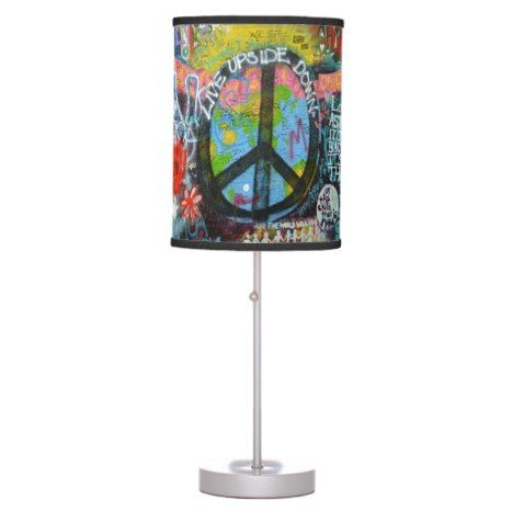 Live Upside Down Peace Sign Wall Desk Lamp