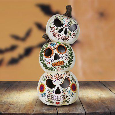 The Holiday Aisle Stacked Sugar Skull Pumpkins Oversized Figurine