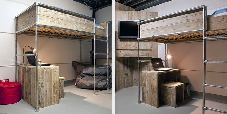 hochbett selber bauen 2 m bel aus rohren pinterest industrial do it yourself and diy and. Black Bedroom Furniture Sets. Home Design Ideas