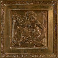 An Art Deco Bronze Plaque Depicting a Female Figure Holding a Building Aloft 12-3/4 x 12-3/4 inches (32.4 x 32.4 c