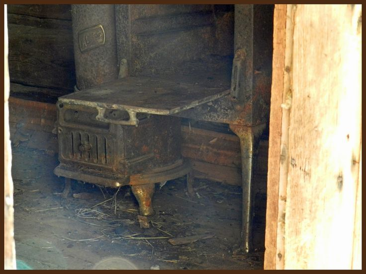 Old stove in one of the building on the Quesnel Forks Historic Site