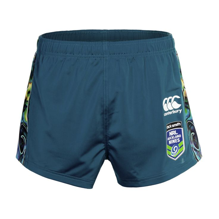 Front view of the #Tangaroa shorts. The design pays homage to Tangaroa, the #Maori god of the #ocean #Merchandise #WarriorsForever #NRL #AucklandNines #shorts #Paua #NewZealand
