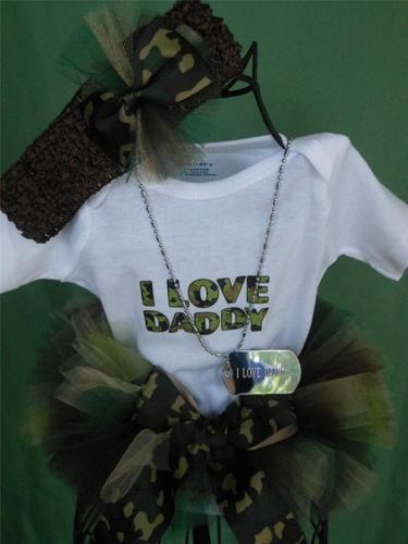 Newborn Baby Camo Tutu w I Love Daddy Onesie Headband I Love Daddy Dog Tag | eBay