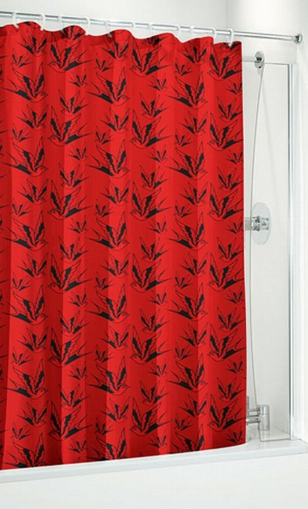 To Go With My Red Black Bedroom Bathroom Sparrow And Dots Rockabilly Shower