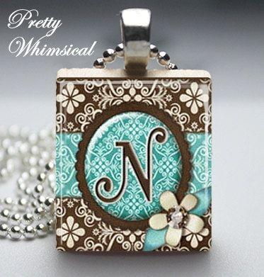 Initial Jewelry - Turquoise Brown Letter N - Scrabble Tile ...