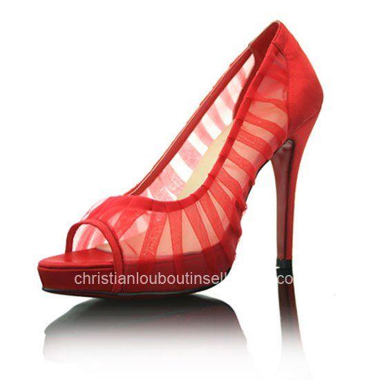 Christian Louboutin Champagne Chiffon Ambrosina Peep Toe Pumps Red Online Store