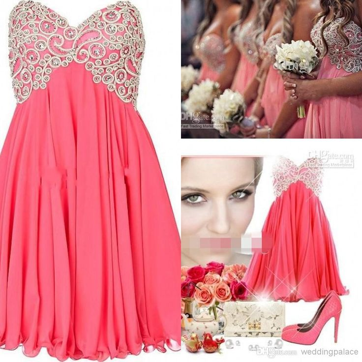 2014 Trendy Short Coral Bridesmaid Dresses A Line Strapless Sweetheart Embroidered Beads Junior Bridesmaid Dresses Online with $75.66/Piece on Weddingpalace's Store | DHgate.com