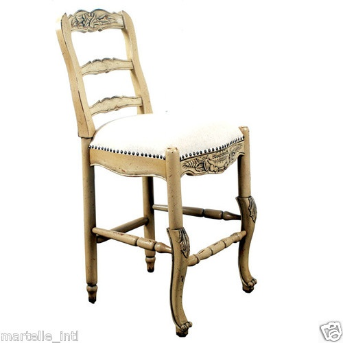 French Country Antique White Counter Stools Solid Mahogany Fabric Seat New  FShip