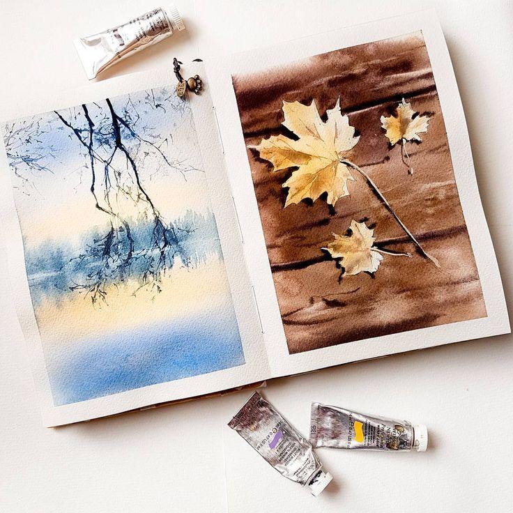 "5,789 Likes, 38 Comments - WATERCOLOR  АКВАРЕЛЬ  МК (@nadja.leutloff) on Instagram: ""Watercolor. Sketchbook. Arches.  Es ist Februar... und ich male in meinem Sketchbook herbstliche…"""