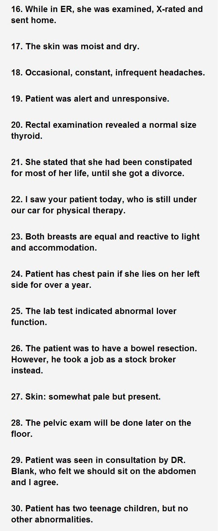 best medical fun pictures humor images medical 30 actual sentences found in patients hospital charts ii patient was alert