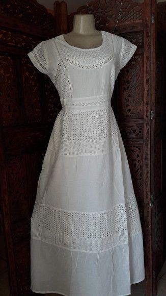 7dccbe6b2 vestido longo tecido branco lese renda guipir manga curta | vestidos ...