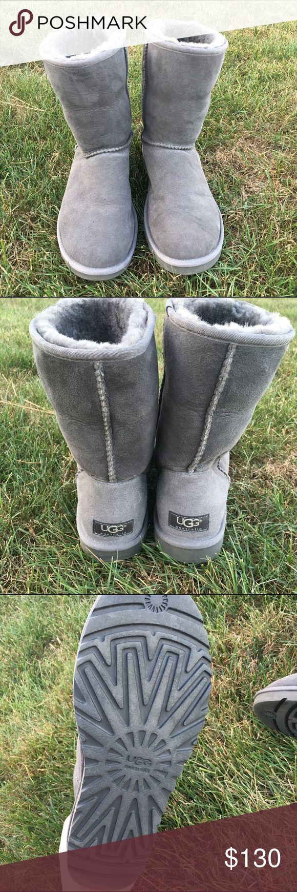 100% AUTHENTIC!GRAY UGG BOOTS Purchased these from the Ugg Australia website! I have only worn them a handful of times. I liked to wear them folded down so there is some creasing but other than that they are in perfect condition! I paid $150 for them. They need a good home.  TRADES UGG Shoes Winter & Rain Boots