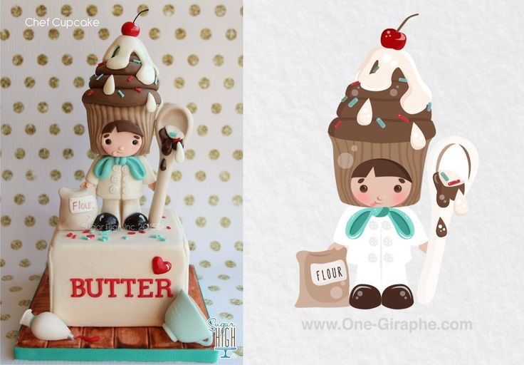 I just love Sugar High, Inc. creations - therefore I made a vector character after the 'Chef Cupcake ' Hope you like it! <3 #cake #cupcake #bake #bakery #sugarhigh #bakers #vector #illustration #illustrator #sugarhighinc #cakedesign