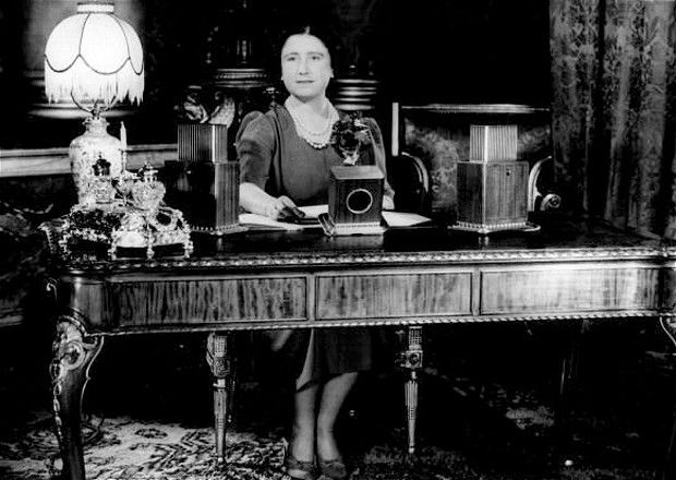 The Queen Mother Queen's Broadcast...12th November 1939:  Elizabeth (1900 - 2002), Queen Consort to King George VI ready to make an Armistice Day speech on national radio on Armistice Day, the anniversary of the end of World War I.