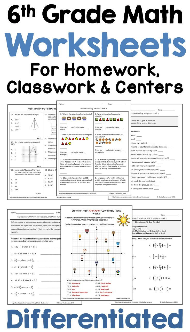 These 6th Grade Middle School Math Worksheets Are Common Core Aligned And Would Be Perfect For Math Worksheets Common Core Math Kindergarten Middle School Math