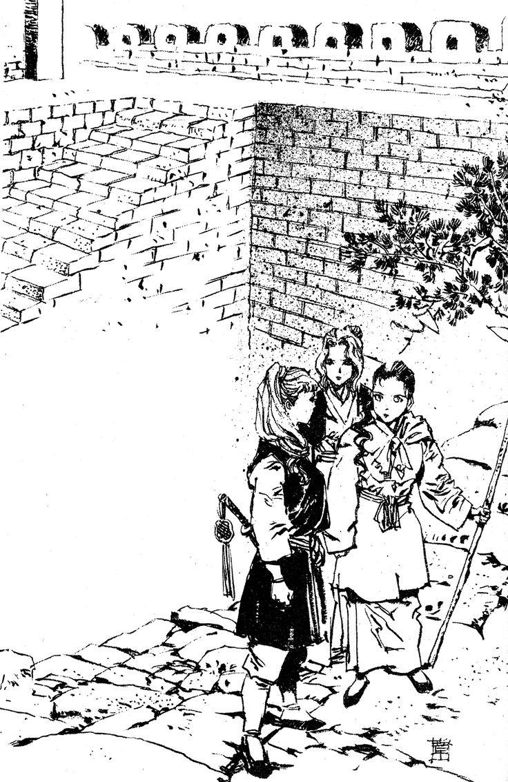 陽子 Youko、鈴 Suzu、祥瓊 Shoukei :『風の万里 黎明の空』:十二国記 Juuni Kokki / Twelve Kingdoms - art by Yamada Akihiro 山田章博