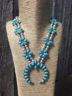 Turquoise Stone Flower Squash Blossom Necklace