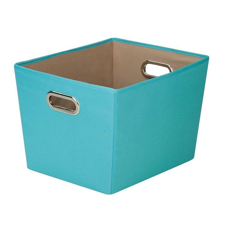 Honey-Can-Do Decorative Storage Bin With Handles, Blue