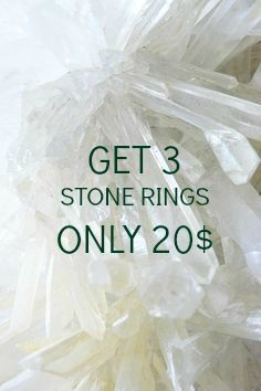 Pack of Three Raw Stone Rings, Amethyst, Clear Quartz, Titanium Quartz Silver Tone Rings, OFFER by Lycidasjewelry on Etsy