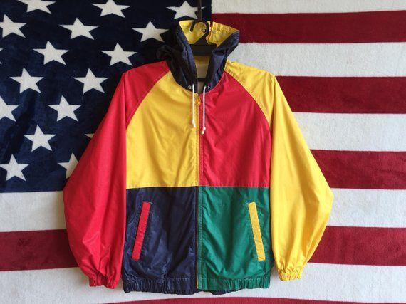 eed9205448ec4 Vintage 80s Colour Block Jacket Zip Up Colourful Jacket Cross Colour Zipper  Jacket Checkered Jacket