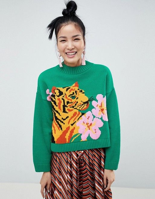 59459fce DESIGN tiger sweater with tropical flower   Tops/Sweaters   Tropical ...