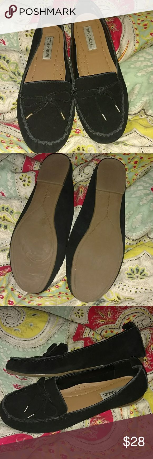Steve Madden black suede loafers Hardly ever worn very comfortable Steve Madden Shoes Flats & Loafers