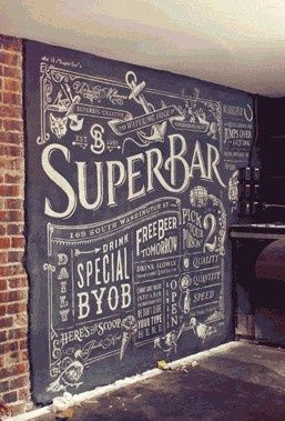 hand lettered chalkboard wall...kitchen.