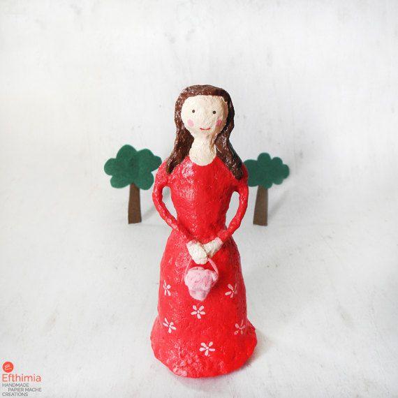 Girl figure doll figurine paper mache girl by EfthimiaPapierMache