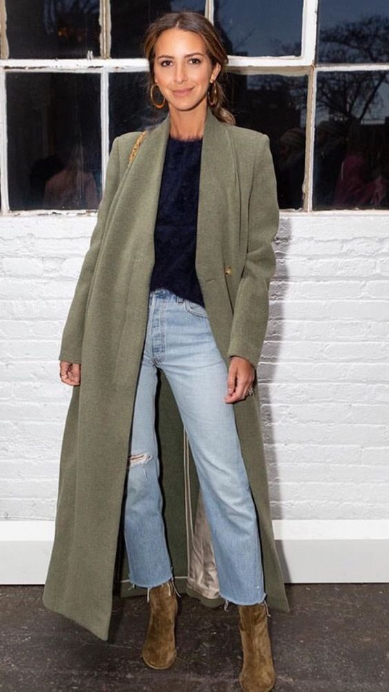 Perfect look – floor length green peacoat with a feminine lace black blouse an…