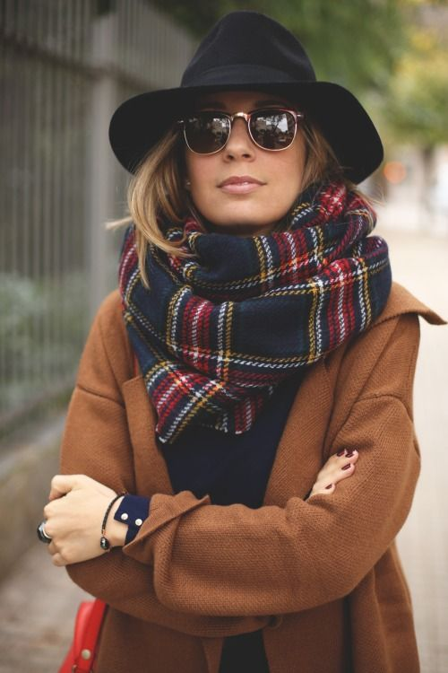 Casual and Comfy Lookvia myshowroomblog | navy, brown, plaid scarf: