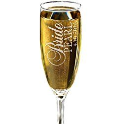 Classy Bridesmaid Bride Maid of Honor Personalized Champagne Glass Wedding Party Ceremony Champagne Flute