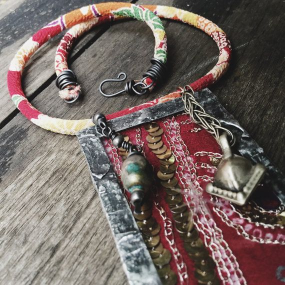 Soldered glass embroidered sari textile necklace multi by quisnam
