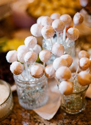 Donut holes on a stick - use Maddy's cake mix and sprinkle with powdered sugar (as it was done in PKU Apple Picking)