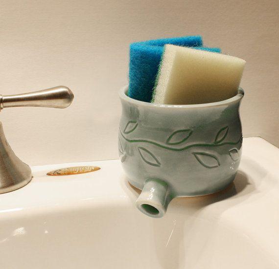 Sink Pot for draining scrubbies Celadon Green w by monikaspottery, $25.00 - I like the idea