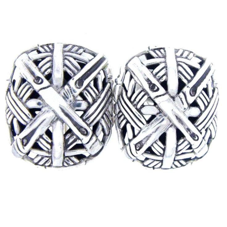 John Hardy John Hardy Sterling Silver X Mesh Earrings | TrueFacet