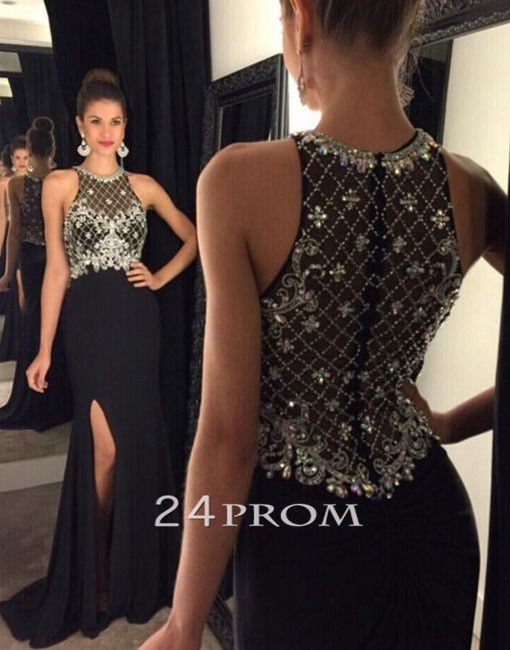 black long sequin prom dress,modest prom dress,unique long evening dress, mermaid prom dresses for teens