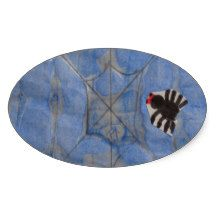 Art by Children, Spider with cobweb, drawing Oval Sticker