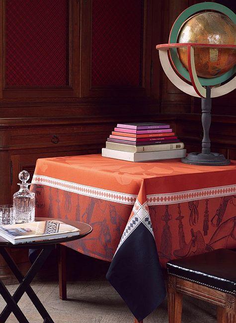Manège, Leather, luxurious tablecloth by Le Jacquard Français, NEW!