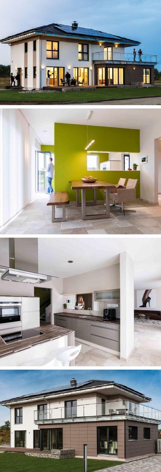 Stadtvilla modern mit Anbau für Einliegerwohnung Büro – Fertighaus mit Walmdach Linz Sonderplanung Kampa Haus – HausbauDirekt.de   – Andre