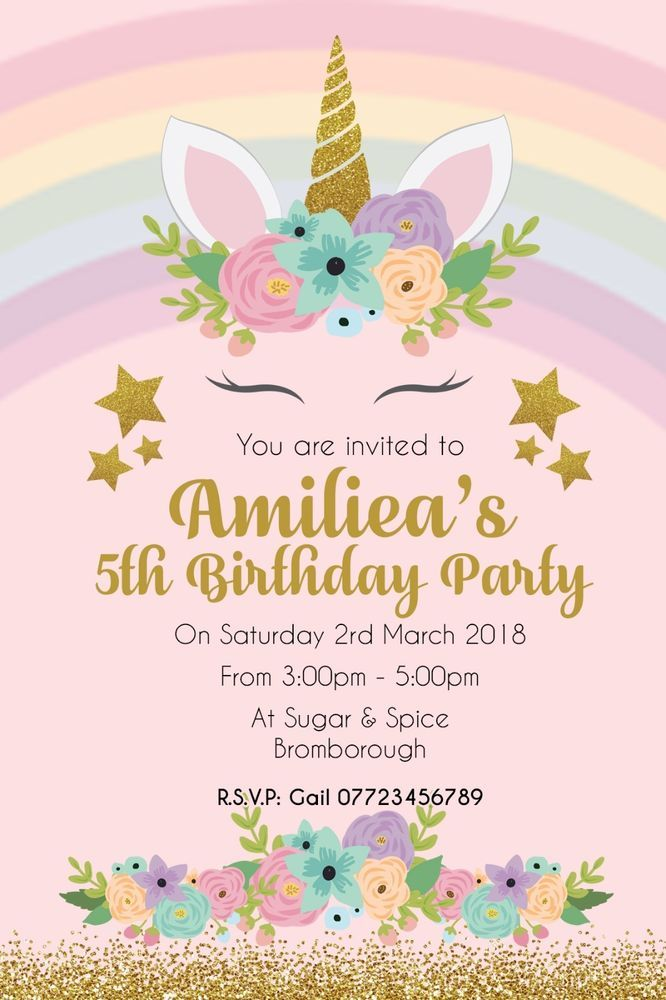 Pink Unicorn Personalised Birthday Party Invitation Invite
